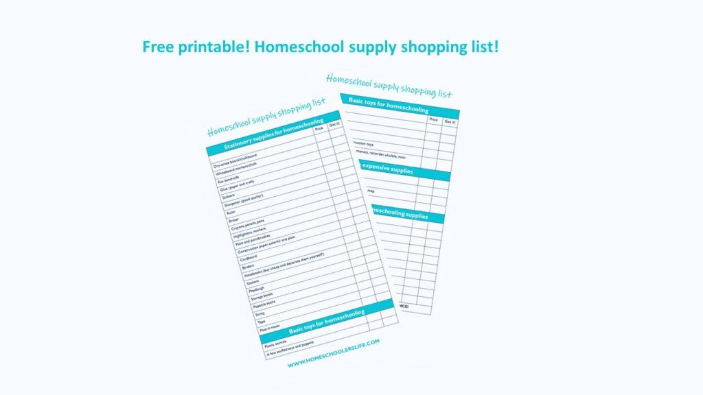 Homeschooling supplies shopping list