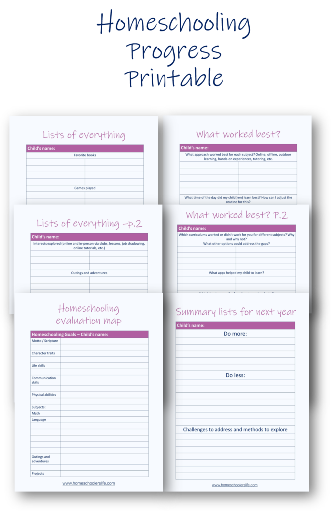 Homeschooling Progress Printable